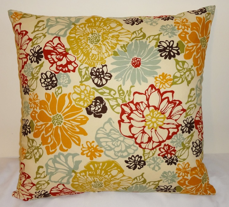 Decorative Pillow Richloom Invigorate Confetti Large Floral Red Blue Yellow Brown 18x18 ...