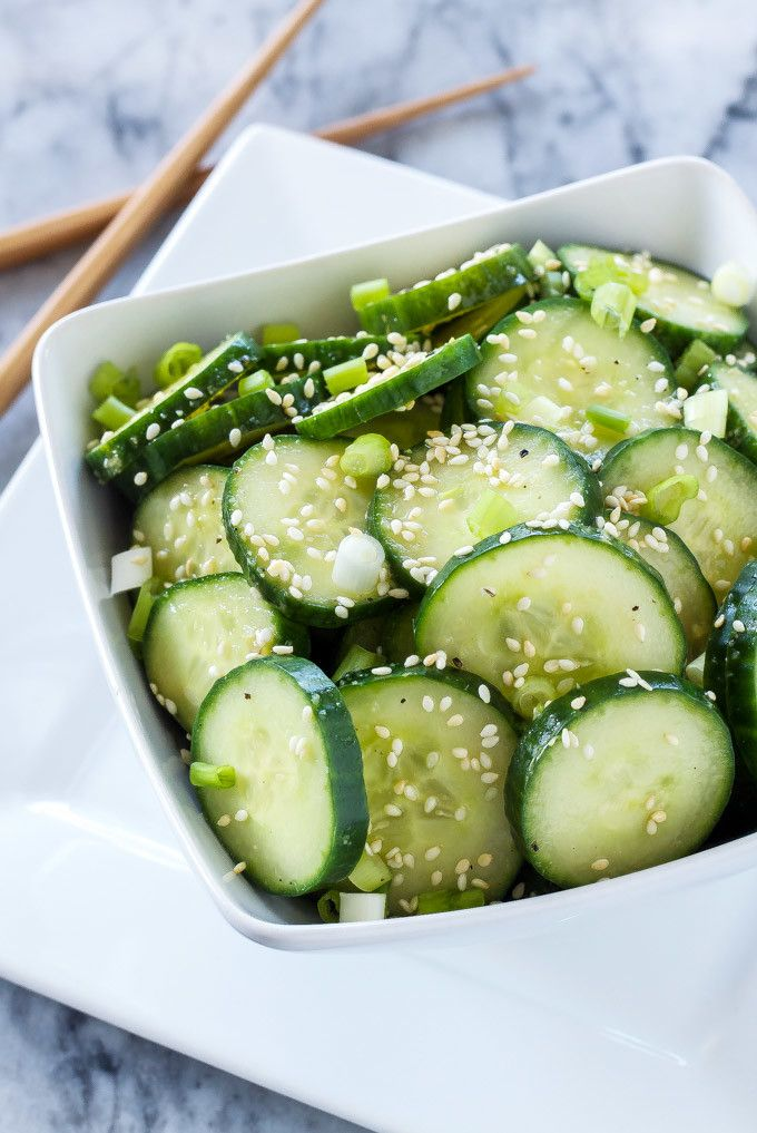 Asian Cucumber Sesame Salad. This fresh Asian flavored cucumber salad is not only easy to make and delicious, but gluten free and vegan as well!