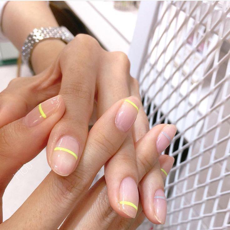 SUBTLE neon nail design.