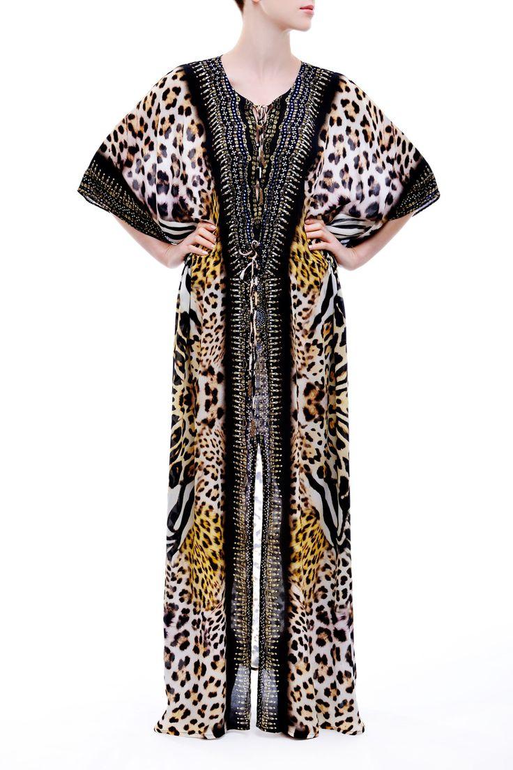 Luxury Lace Up Multi Wear Kaftan Dress in Leopard Print Animal