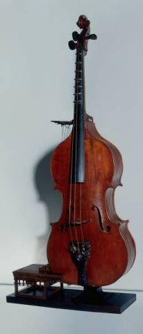 Octobasse, instrument du XIXe s. Elle mesure 3 m 87, ne possède que 3 cordes. Pour en jouer, l'instrumentiste doit monter sur un petit tabouret intégré à l'instrument, du fait de la hauteur du manche, c'est grace à des leviers et des pédales que sept doigts d'acier se posent sur les frettes de la touche.