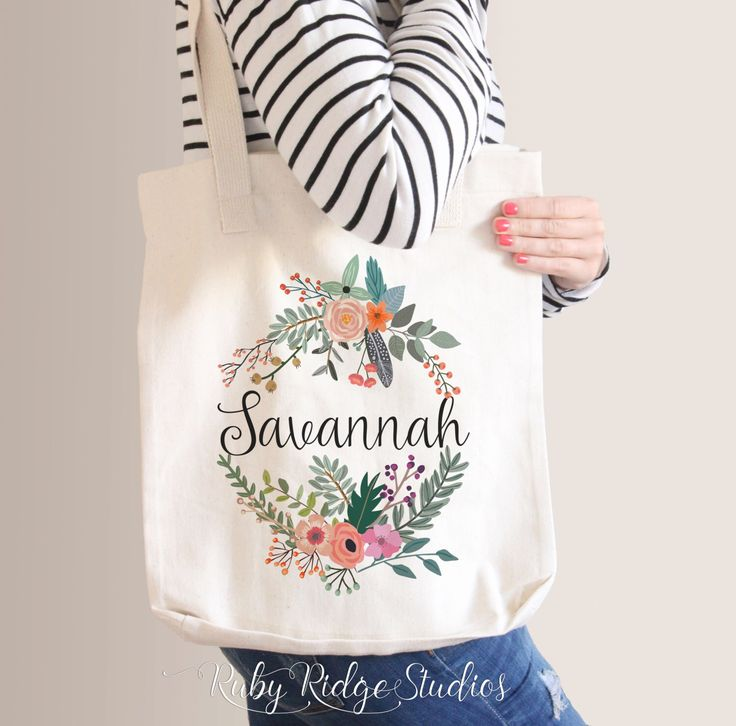 Personalized Name Natural Floral Wreath Tote Bag | Bridesmaid Tote Bag | Bridesmaid Gift | Custom Floral Tote Bag by RubyRidgeStudios on Etsy https://www.etsy.com/au/listing/232450125/personalized-name-natural-floral-wreath