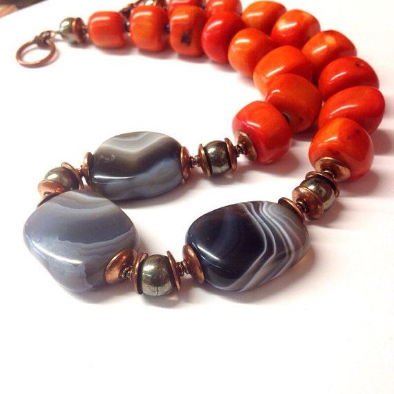 This unique orange coral statement necklace is the perfect gift for Christmas or a 7th or 22nd wedding anniversary gift. Coral jewelry is