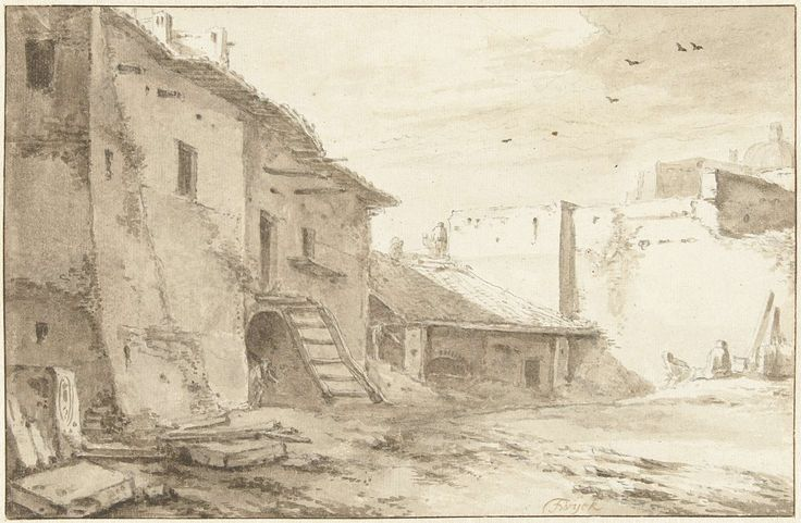 Thomas Wijck | Italiaanse binnenplaats, Thomas Wijck, 1626 - 1677 | Huizenrij en kalkoven.