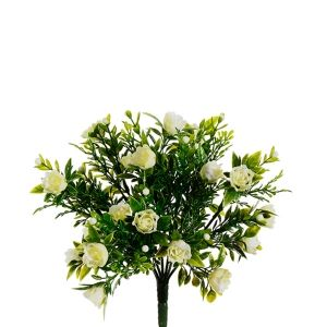 Buisson de minis roses blanches 10,5''