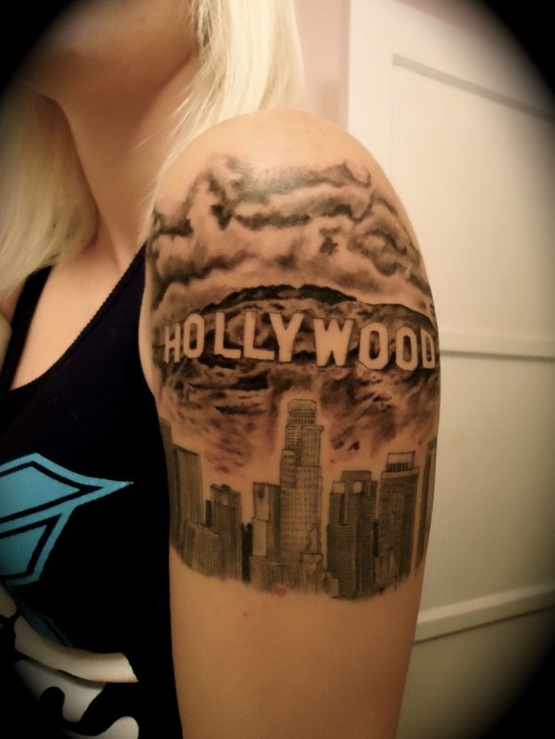 Like the idea of a hwood glam tattoo: Hollywood | 43 Rad Tattoos To Pay Tribute To Your Favorite Place