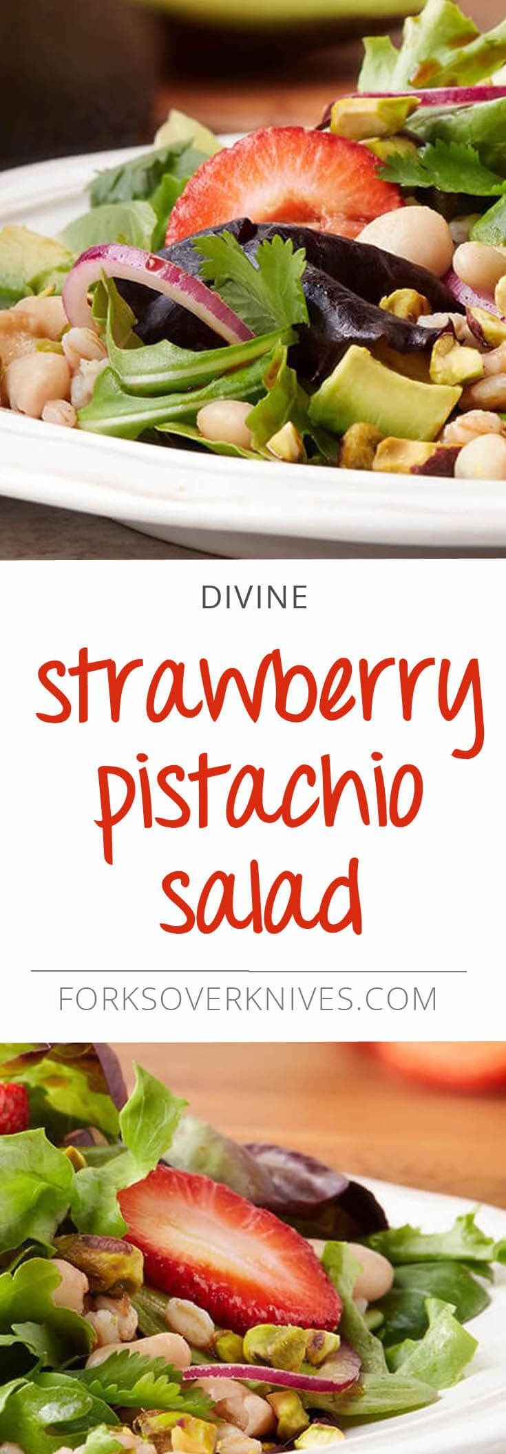 We love the flavor, color, and texture that strawberries bring to this salad, while grains and pistachios offer an irresistible blend of chewy and crunchy.