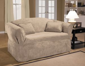 New Luxury Suede Mink Loveseat Slipcover. Soft, faux suede surface, beige relaxed-fit slip cover upholstery, living room, beautiful interior design, chic home decor
