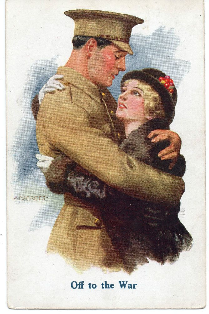 """WW1:  Artist A BARRETT: Patriotic, Family, Farewell """"OFF TO WAR"""" Posted 1915"""
