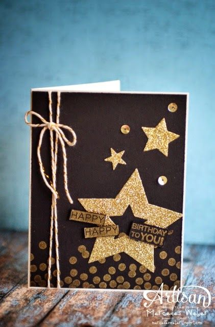 Fabulous birthday card in gold and black using Dotty Angles, Star framelits -- Artisan Wednesday Wow- Versatility | Creations by Mercedes