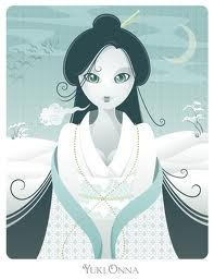 "Yuki-Onne is a Japanese Shinto Goddess. To those lost in blizzards, struggling futilely against the cold, she came, soothing them, singing to lull them to sleep, then breathing a deathly cold breath on them. The ""snow maiden"" was the Spirit of Death by Freezing; a calm, pale woman who appeared to the dying, making their death quiet and painless."