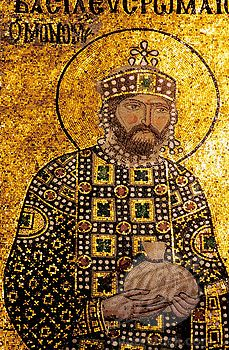 , Emperor Constantine, mosaic decoration. St. Sophia mosque. Istanbul. Turkey