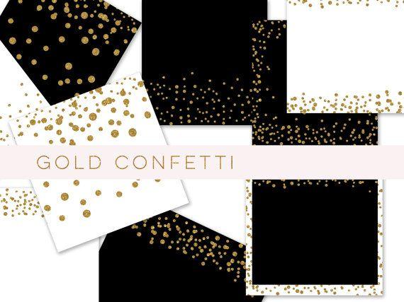 Gold glitter confetti paper, confetti border, gold glitter paper, gold glitter Digital paper, confetti digital paper, gold confetti