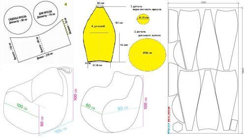 бескаркасное кресло-мешок своими руками, выкройка, шьем для детской