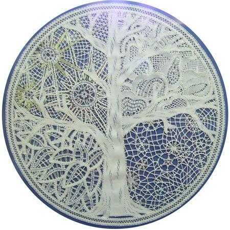 Beautiful tree in four seasons in bobbin lace