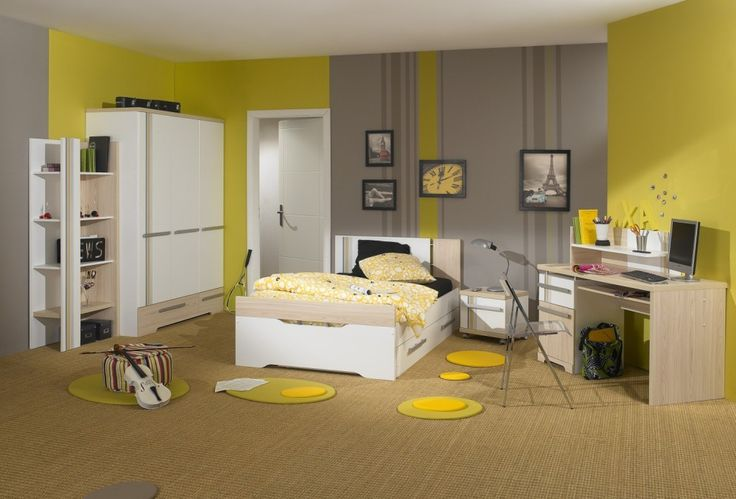 Kids Room: Exciting Yellow Kids Bedroom Designed With White Wooden Furniture For Boys Set On Laminate Floor Design Yellow Walls Wooden Desk White Wardrobe: Boys Bedroom Furniture