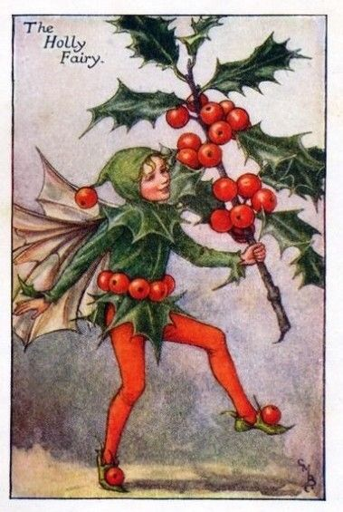 Holly Flower Fairy Vintage Print by Cicely Mary Barker. first published in London by Blackie, 1926 in Flower Fairies of the Autumn.
