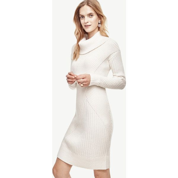 Ann Taylor Petite Ribbed Cowl Neck Sweater Dress ($149) ❤ liked on Polyvore featuring dresses, winter white, sweater dresses, petite white dresses, winter white sweater dress, long sleeve sweater dress and ivory dress