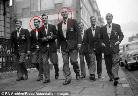 Bishop Auckland FC players.  Three of BAFC were asked to help Man Utd out after the Munich Air Disaster.  They were Derek Lewin Bob Hardisty (shown circled) and Warren Bradley.  (See 'Bishop Auckland Saves Manchester United')