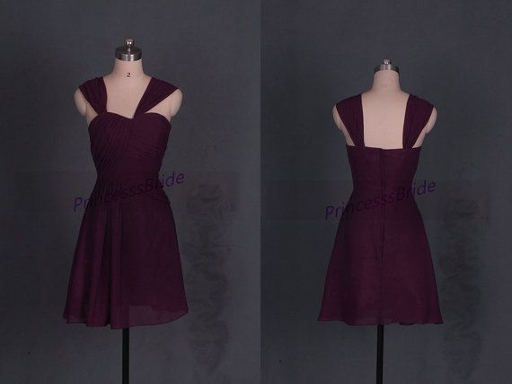 Short eggplant chiffon bridesmaid dress with straps,simple sweetheart women gowns hot,2015 cheap cute dress for wedding party.    This dress is