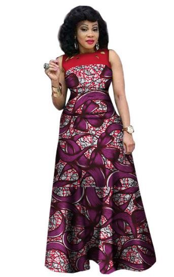 $48.07 #13 African Print African Sleeveless Sexy Dress Plus Size Dress BRW WY1341