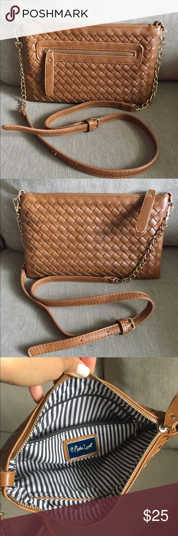 Moda Luxe Camel Clutch Crossbody Moda Luxe camel Clutch Crossbody. Excellent used condition.  Has detachable Crossbody strap. Zipper closure so nothing falls out! Main pocket has 2 side compartments for cell phone or other small items. 1 zippered pocket inside main compartment. Has 1 outer zippered pocket for easy access for other necessities! Bags Crossbody Bags
