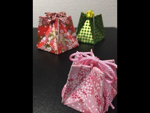 Five Paper Origami Box 5枚で作る小物入れ(巾着) - YouTube