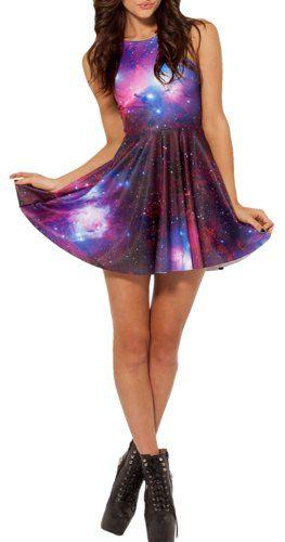 $4.50 - $21.99 Ninimour- Summer Pleated Knee-length Print Pattern Reversible Skater Dress (M, Galaxy) Ninimour