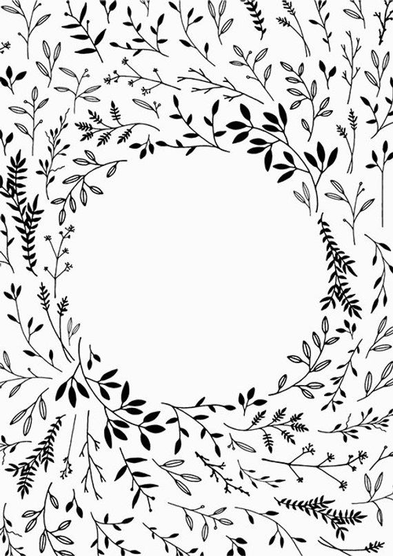 Hand Drawn Leaf Border Clipart Frame Black Botanical Background ...