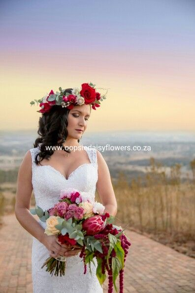 "Flowercrown and trailing bridal bouquet in marsala, peach and pinks... ""create with beautiful flowers"""