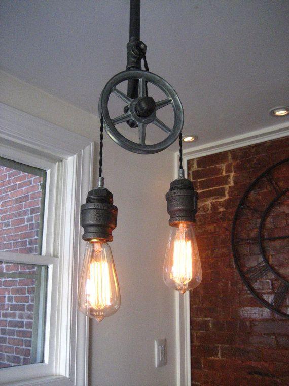 Pulley Light - Metal Light -  Steampunk Ceiling Light- Industrial Lighting - Fixture - Chandeliers - bar light - brewery light - loft light