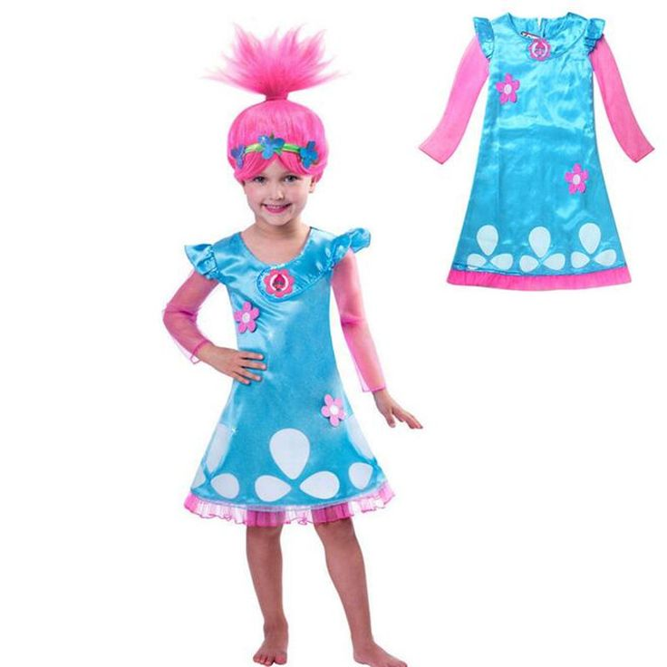 Girls Funcy Dress Film Trolls Princess Poppy Costume