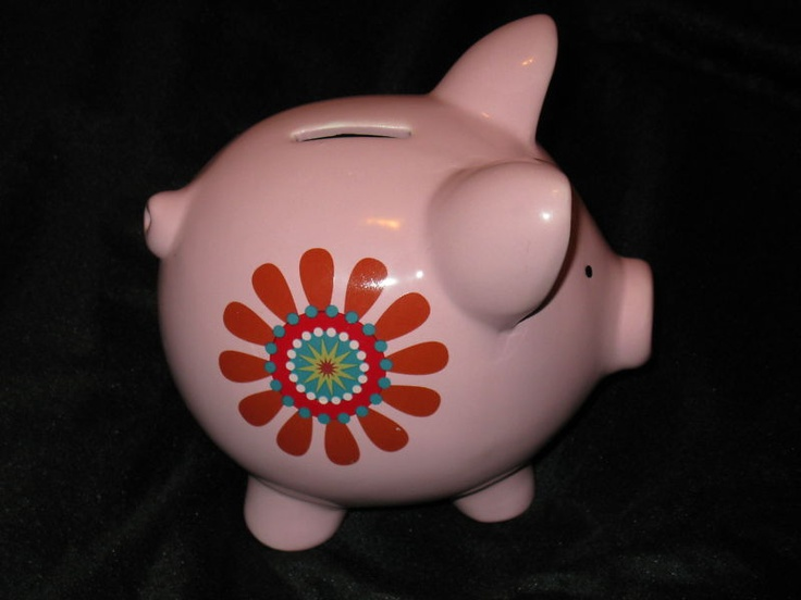 PINK PIGGY BANK~WITH 2 RETRO DAISIES~w/CORKER