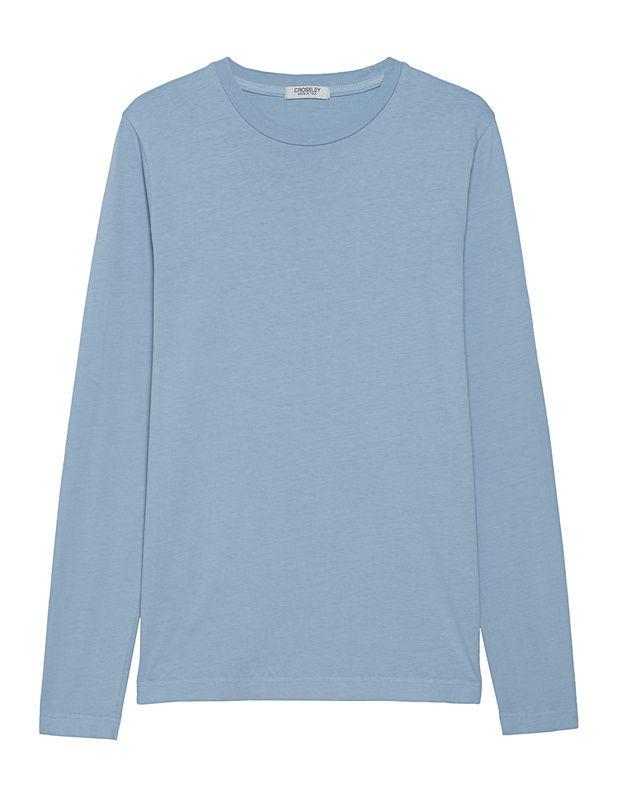 Baumwoll-Longsleeve Dieses hellblaue Longsleeve aus hochwertiger Baumwolle im geraden Schnitt mit Rundhalsausschnitt ist das perfekte Basic!  Perfekt kombiniert mit Shorts und Sneakern...