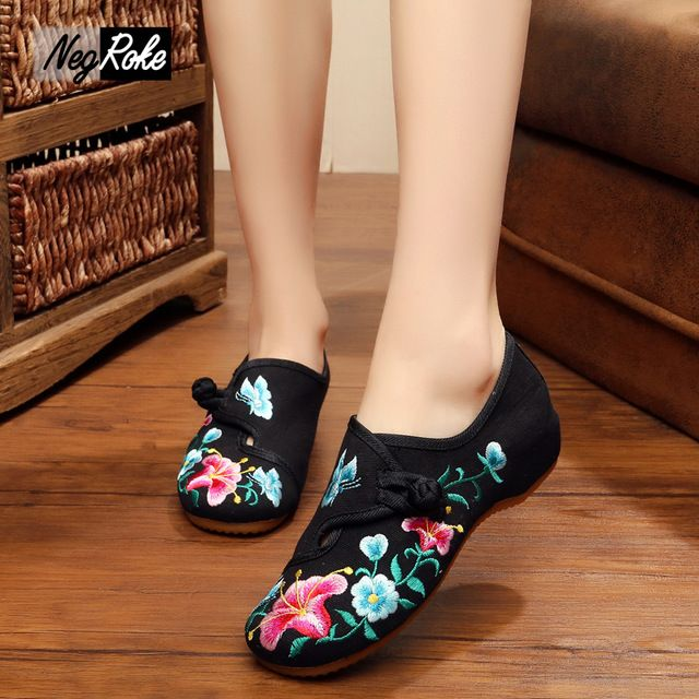 Check lastest price Fashion flowers Chinese embroidery shoes woman casual Canvas flats shoe ladies slip on shoes for women Marry jane flats loafers just only $14.51 with free shipping worldwide  #womenshoes Plese click on picture to see our special price for you
