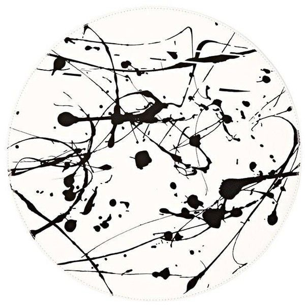 kitchen table clipart black and white. lisa perry reversible paint-splatter-print circular placemat ($25) ❤ liked on polyvore featuring home, kitchen \u0026 dining, table linens, black, black clipart and white