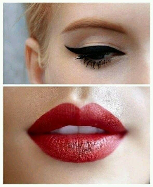 Zwarte eyeliner en rode lippenstift! Een echte klassieker!