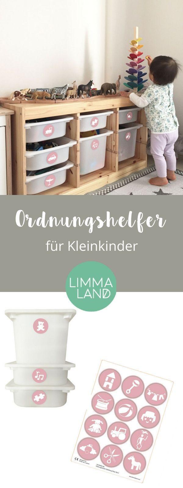 Möbelaufkleber Spielzeug: Ordnung halten mit Kindern – Symbol Weiß / Hintergrund Rosa