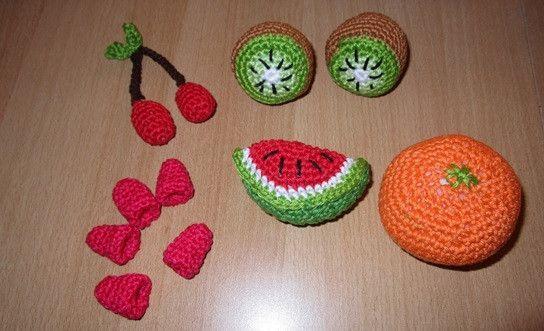 Puppen & Puppenstube - Lebensmittelspielzeug - Orange, Himbeeren, Kiwi,  - ein Designerstück von Rasselbande-MelanieHechenberge bei DaWanda
