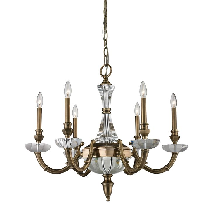 ARUNDEL 6light Brass And Crystal Chandelier Without Shade