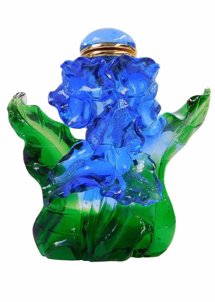 Chinese Liuli Crystal Glass Pate-de-verr Blue Green Bottle Display cs1592S