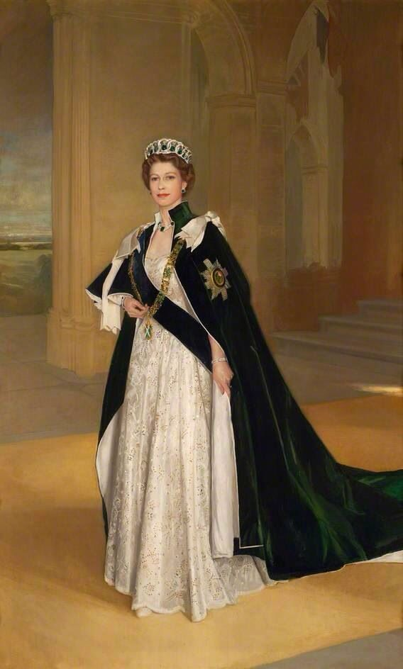 Her Majesty, Queen Elizabeth II, wearing the robes of the Order of the Thistle. Also wearing the Grand Duchess Vladimir Tiara, with the emerald drops, purchased by Queen Mary in 1921 from the collection of the Grand Duchess Vladimir, aunt of Tsar Nicholas II, for whom it was made in the 1880s.