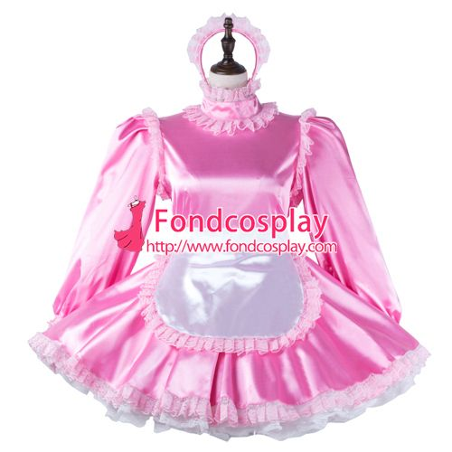 Sissy maid satin dress lockable Uniform cosplay costume Tailor-made[G2272]