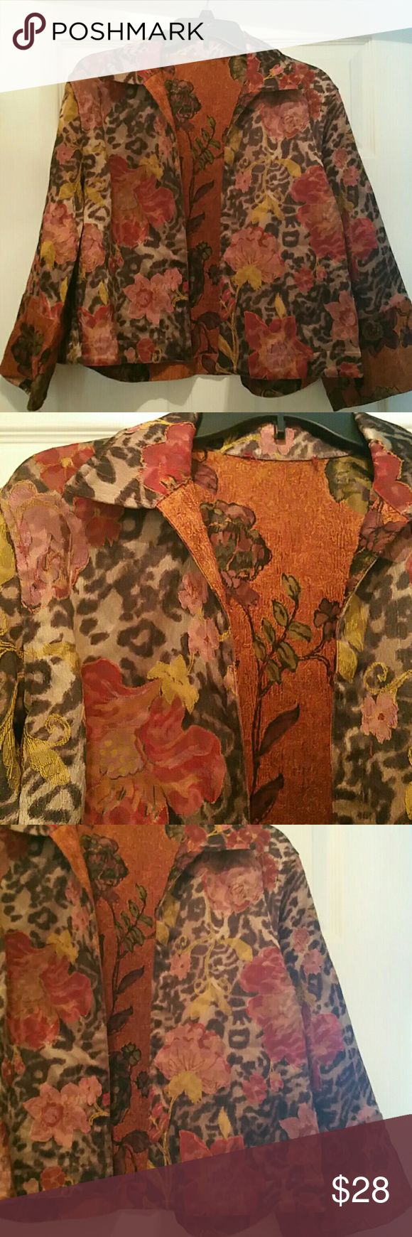 BOGO SALE! Raised Floral Chettah Blazer BUY AT REGULAR PRICE GET ONE FREE AT A LESSER PRICE! NO OFFERS OR BUNDLES WITH THIS SPECIAL.   EXCLUDES HAT COLLECTION AND VASACE ITEM.  Size: Medium  No Lining  Raised Floral Design with Cheetah Background Print.  Colors: Burgundy, Mauve, Brown and Tan Jackets & Coats Blazers