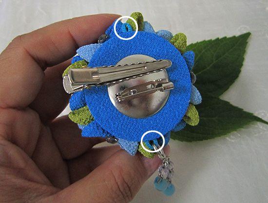 katumi made *つまみ細工の簪(かんざし)髪飾り*つまみ細工の紫陽花ブローチ
