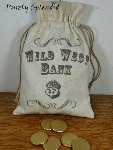 Wild West Bank Bag and Wooden Coins Western by PurelySplendid