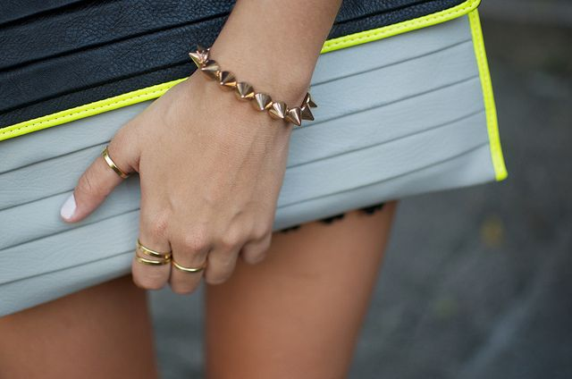 DIY spike bracelet: Spikes Bracelets, Clutches, Cones Studs, Beads, Diy, Gold Accessories, Bags, Neon Yellow, Studs Bracelets