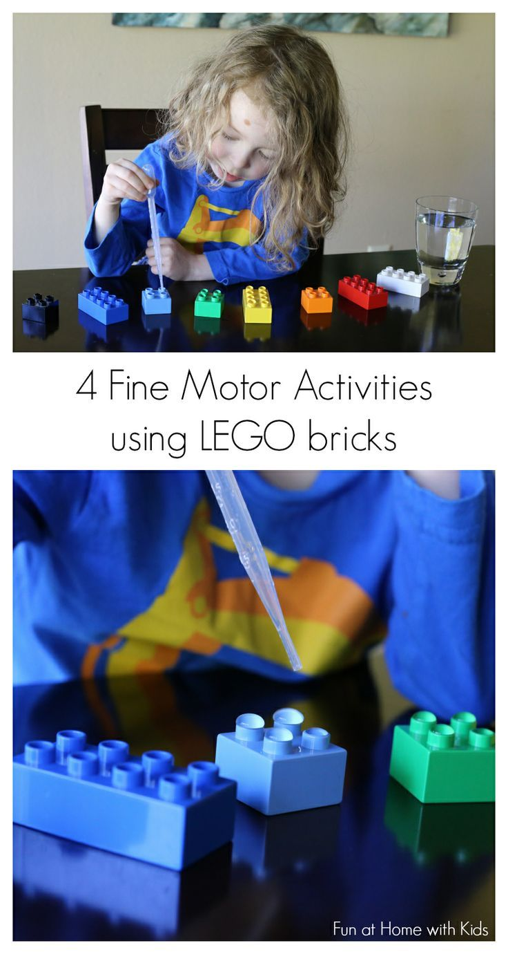 Four easy to set-up and fun activities to practice fine motor skills using LEGO bricks from Fun at Home with Kids. Repinned by SOS Inc. Resources pinterest.com/sostherapy/.