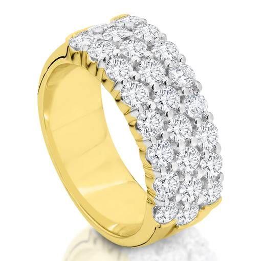 Kiss - 9 carat yellow and white claw set three row tdw1.00ct h/p1