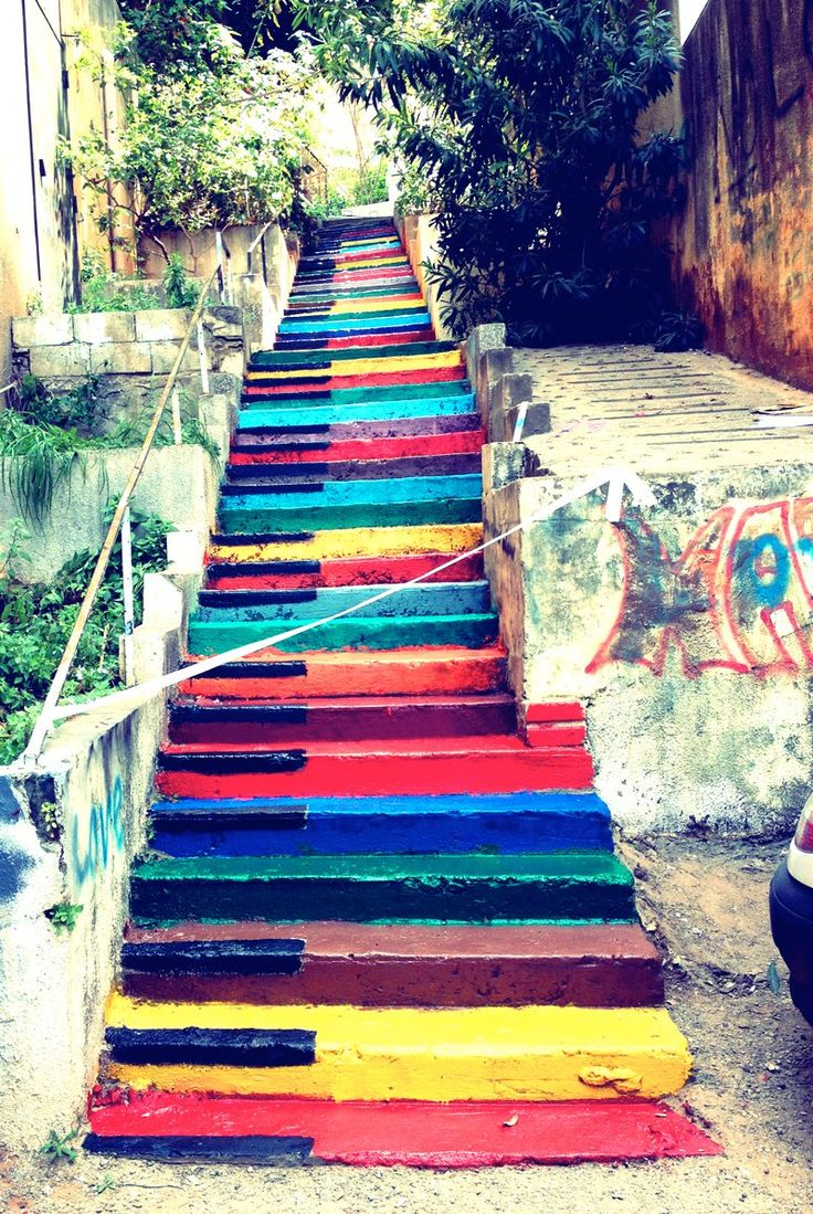 Multicolored piano stairs